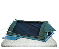 Big Boy Dome swag with deluxe pillow top mattress, by Kulkyne