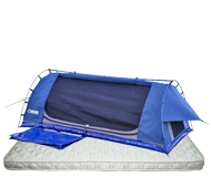 Blue Queen Swags with deluxe pillow top mattress, by Kulkyne
